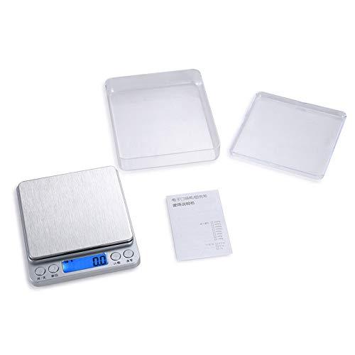Digitale Küchenwaage elektronische Waage große Wiegefläche Beleuchtung LCD-Display Silber Chinesisch 2kg / 0,1g