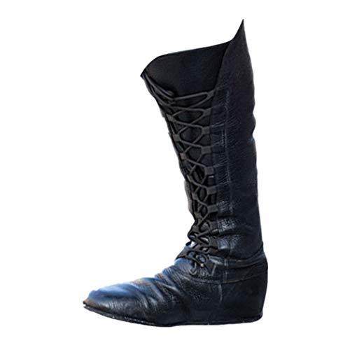 JUTOO Frauen Retro Round Toe Schuhe Plattform Lace-Up tiefen Mund Lange Rohr Schwarz Boot(Schwarz,38.5 EU)