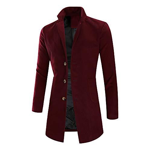 ODJOY FAN Maschio Sezione Media e Lunga vestibilità Slim Cappotto Peloso Cappotto da Uomo Trench Long Outwear Button Overcoat Coats Giacche Cappotti
