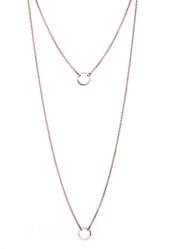 Elli Damen Schmuck Halskette Extra Lange Kette Layering Kette Geo Kreise Blogger Trend Silber 925 Rosé Vergoldet Länge 70 cm