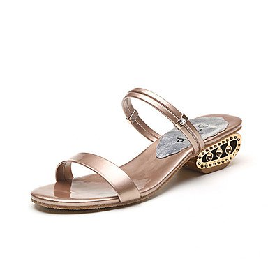 RUGAI-UE Estate Moda Donna Sandali Casual PU scarpe tacchi comfort,Black,US8.5 / EU39 / UK6.5 / CN40 Champagne