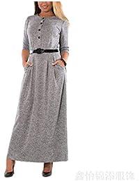 SYGoodBUY Vestido a Media Pierna Flojo Puro Elegante de Las Mujeres del Vestido Ocasional (Color