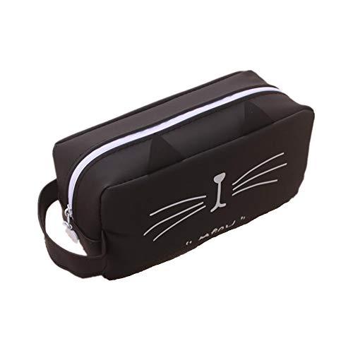 Cosanter Corea gato creativo de gran capacidad bolso de la pluma papelería caja de lápiz personalizada orejas negras gato