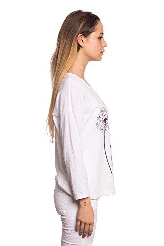Abbino 7132 Chemisiers Blouses Tops Femmes Filles - Fabriqué en Italie - 5 Couleurs - Transition Printemps Été Automne Plaine Chemises Manches Longues Elegante Vintage Classique Casual Sexy Blanc