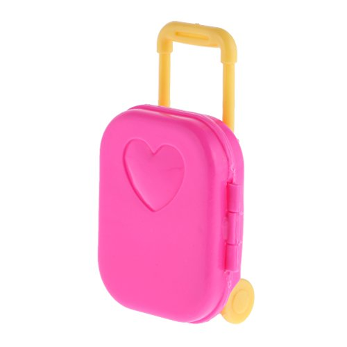 Segolike Cute Pink Plastic Rolling Suitcase Luggage Box for Barbie Doll Travel Accessories  available at amazon for Rs.200