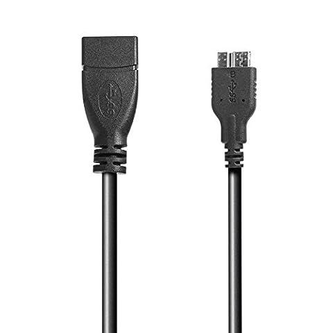 USB 3.0 OTG (On-the-go) Adapter Kabel für Samsung Galaxy S5 SM-G900, Note 3 N9000, N9002, N9005, Galaxy Round N9009 - 10cm - schwarz