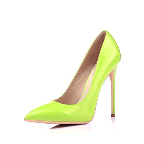 Chaussures à talons hauts avec des pointes fines 12cm vert bouche peu profonde chaussures