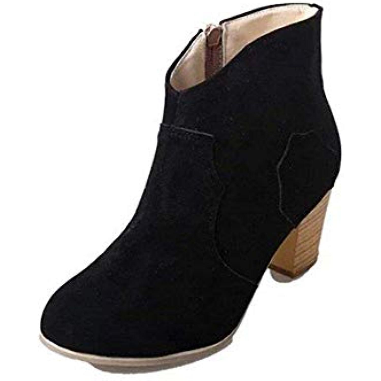 DEED Mesdames Courtes Bottes Retro ponçage Grandes PU glissière latérale Grande Taille et Grandes ponçage Chaussures Occasionnels - B07H9WKH8K - 90db17