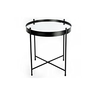 Annibells at Home Mirrored Glass Retro Black Metal Folding Coffee End Side Table