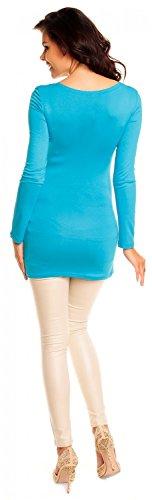 Zeta Ville- maternité - robe tunique de grossesse - manche longue - femme - 941c Turquoise