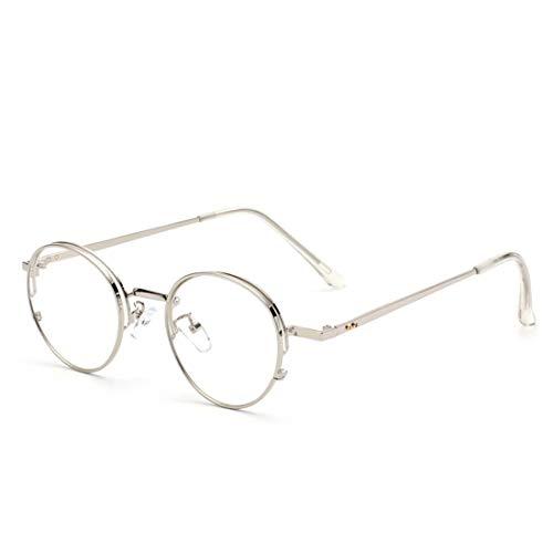 Chengduaijoer Metall Retro runde Brille Rahmen Nicht verschreibungspflichtige Brille für Frauen, Männer (Color : Silver)