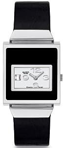 Swatch YUS117 - Reloj de mujer de cuarzo, correa de piel color negro de Swatch