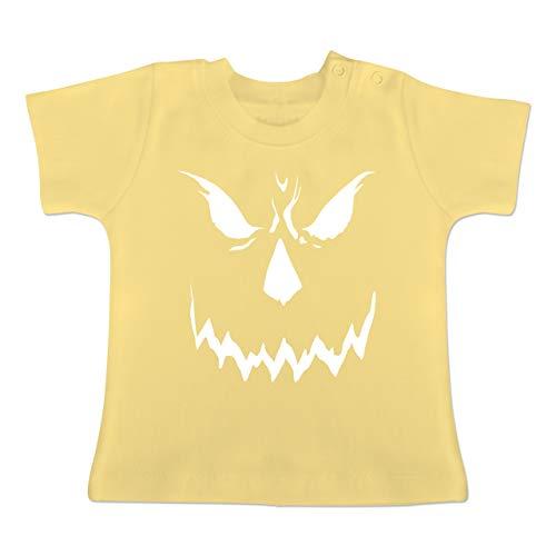 (Anlässe Baby - Scary Smile Halloween Kostüm - 6-12 Monate - Hellgelb - BZ02 - Baby T-Shirt Kurzarm)