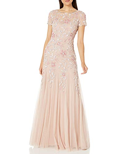 Adrianna Papell Damen FLORAL Beaded Godet Gown