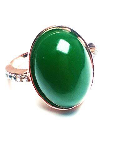 Las mujeres 14K oro natural color verde jade anillo