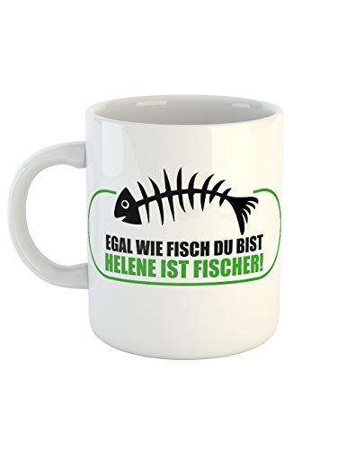 clothinx Kaffeetasse mit Aufdruck Egal Wie Fisch Du Bist Helene Ist Fischer (Jeden Ist Tag Halloween-chef)
