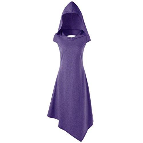 Frauen Sport Minikleid, ZIYOU Sommer Casual Blusekleid Unregelmäßige Pullover mit Kapuzen Tunika Bluse Oversize Minikleid (Violett, EU-44 / CN-L)