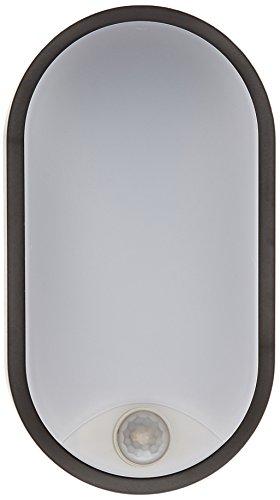 Tibelec 342120 Hublot LED Ovale avec Détecteur de Mouvement, Plastique, 10 W, Noir, 60 x 12 x 212 mm