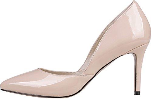 Calaier Damen Camiss 8.5CM Stiletto Schlüpfen Pumps Schuhe Pink