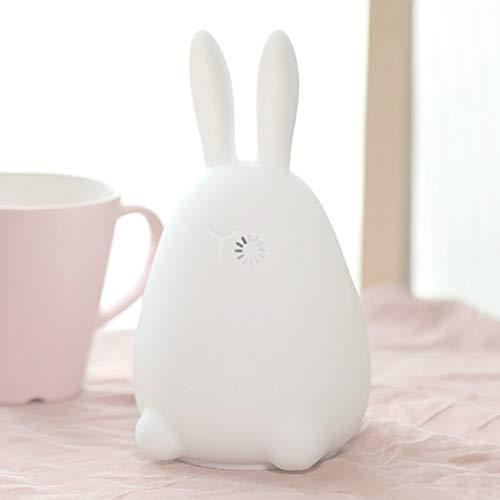 Lampada da notte a forma di coniglio con luce colorata a forma di gel di silice 7 led per camera da letto 7 colori che cambiano la luce notturna atmosfera romantica