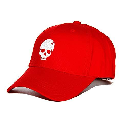 JIACHIHH Baseballmütze Baumwolle,Sommer Rotes Basecap Skull Totenkopf Stickerei Hut Mode Accessoires Baseball Cap Casual Hut