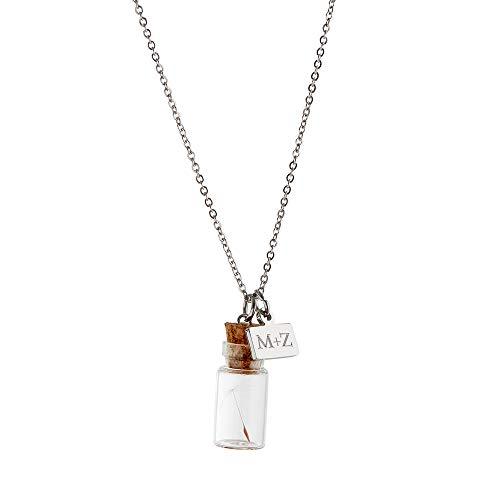 Gravado Kette mit 2 Anhängern aus Edelstahl und Glas, Flaschenanhänger mit Korken & Plättchen, Personalisiert mit Initialen, Damen Schmuck