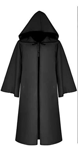 Mescara mantello costume cosplay halloween abito con cappuccio medievale vintage vestito carnevale accappatoio unisex boia strega vampiro per adulti