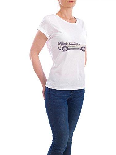 """Design T-Shirt Frauen Earth Positive """"Delorean"""" - stylisches Shirt Automobile Reise von Florent Bodart Weiß"""