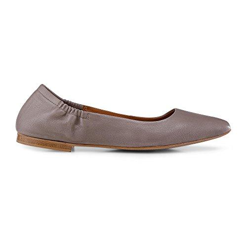Cox Damen Stretch Ballerina, Graue Flats Aus Leder mit rutschhemmender Laufsohle Grau Leder 38 (Leder-stretch-slipper)