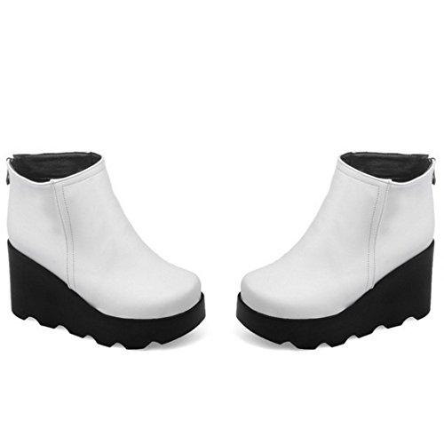 TAOFFEN Damen Bequeme Plattform schuhe Mit Hohen Absätzen Knöchel Stiefel Beiläufige Ritter Stiefel Weiß