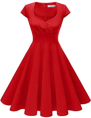 HomRain Damen 50er Retro Vintage Rockabilly Cocktail Party V-Ausschnitt Abendkleid Red 3XL
