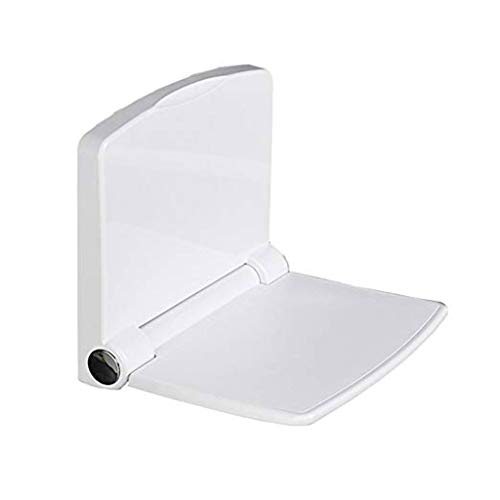 Badezimmer-Stuhl-an der Wand befestigte Duschbank, Rechteck-Sitz mit Rückenlehne, Bad-Duschhocker für ältere Personen, Behinderte, Schwangere Frauen, 200kg / 440lb, Weiß ()