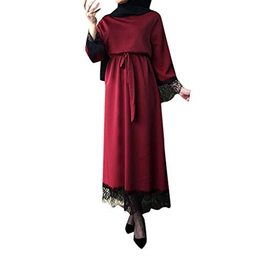 Muslimische Kleider Damen, Frauen Elegant Kleid aus Spitzen 2019 Islamisch Muslim Robe Kleider Abaya Dubai Ramadan Kaftan Moslem Kleid Elegante Muslimischen Kaftan Kleid (Lustige Halloween-kostüme 2019 Billig)