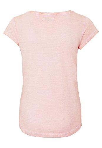 SUBLEVEL Damen Shirt mit Wendepailletten & Vogel Motiv | Elegantes Basic T-Shirt light-rose