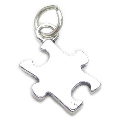 Puzzle Stück Sterlingsilber Charm .925 x 1 Autismus autistischen Puzzle Anhänger cf3144