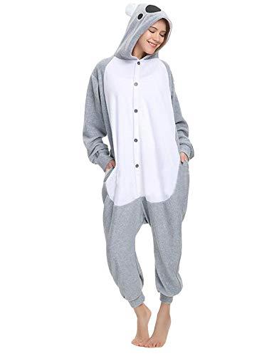 SMITHROAD Jumpsuit Tier Karton Fasching Halloween Kostüm Sleepsuit Cosplay Fleece-Overall Pyjama Schlafanzug Erwachsene Unisex Nachtwäsche (S, Koala)