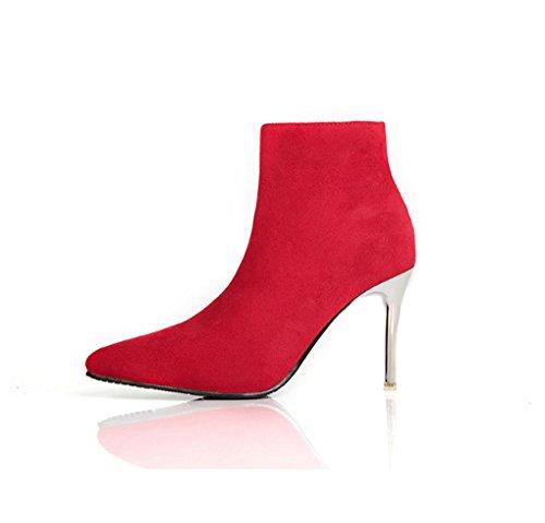 JAZS® Autunno e inverno stile occidentale Stivali a punta tacchi alti Comodo, resistente all'usura, sexy, dolce. ( Colore : Nero , dimensioni : 38 ) Rosso