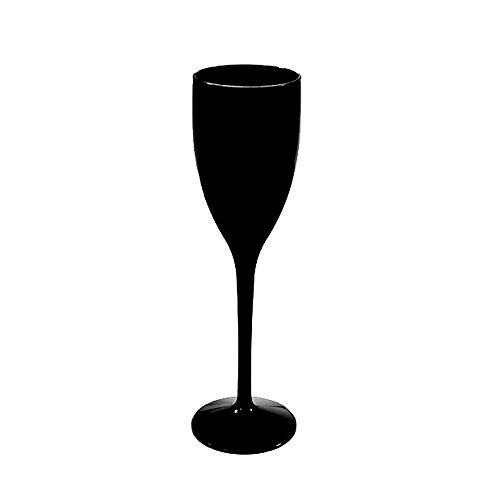 6 Flûtes à Champagne - en plastique incassable et réutilisable 12cl (Noir)
