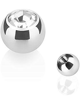 Piercingfaktor Piercing Ersatz Schraubkugel Edelstahl Silber mit Kristall