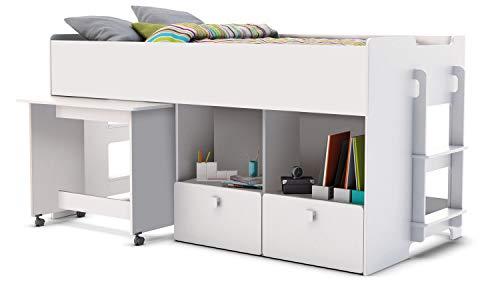 habeig Kinderbett HOCHBETT Weiss Schreibtisch auf Rollen + 2 Treppen KOMBIBETT 90x200cm