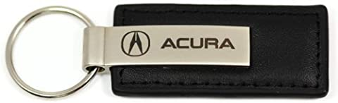 Acura Logo Emblem Keychain Black Leather Chrome Key Fob Metal Key Ring Lanyard by DanteGTS