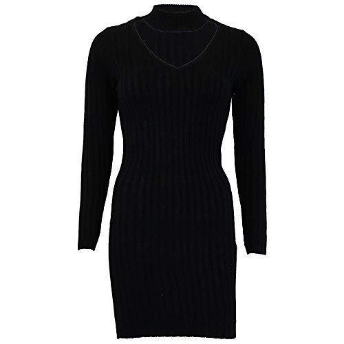 femmes pulls Brave Soul femmes tricoté Long Robe collier ras du cou côtelé hiver - Noir - 230necked, Large