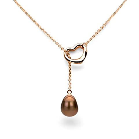 Yellow Gold Plated Silver Open Heart Shape 9x11mm Dyed-chocolate Freshwater Cultured Pearl Chain Necklace, 21