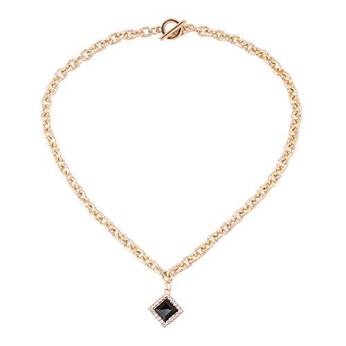 Yazilind Halskette Legierung Strass Elegante Damen Halskette Mit Quadratischen Anhänger Schmuck Partydekorationen