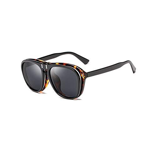 Sport-Sonnenbrillen, Vintage Sonnenbrillen, Vintage Steampunk Flip Up Sun Glasses Women Men Square Sunglasses Unique Clamshell Frame Yellow Lens Shades CC0993 C1 Black gray