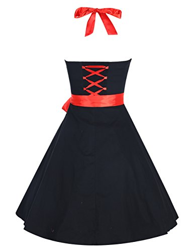 Dresstells Neckholder Rockabilly 50er Vintage Retro Kleid Petticoat Faltenrock Black M -