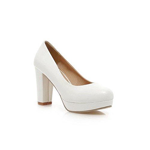 BalaMasa e punta arrotondata, da donna, a tacco alto, materiale morbido pompe-Shoes White
