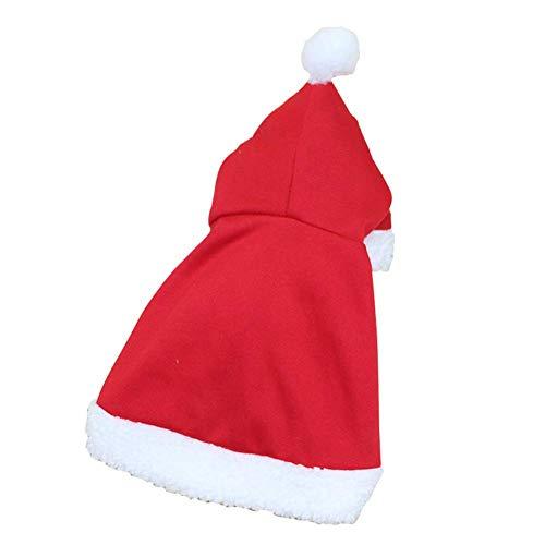 Uniform Kostüm Band - Delisouls Haustier Weihnachten Kostüm, Poncho Umhang mit Hut, Warm Umhang Haustier Kleidung Santa Claus Mantel Santa Anzug für Katzen Hunde Urlaub Halloween Zubehör - Large