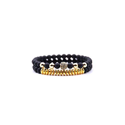 Awertaweyt Edelstein Perlen Armband 2Pcs/Set Charm Natural StoneABCDEFBead Bracelets Bangles for Women Classic Punk Gold Silver Men Bracelet B318Gold Set (David Yurman Ring Damen)