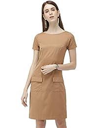 Ombré Lane Women's Brown Shift Dress with deep Front Pockets